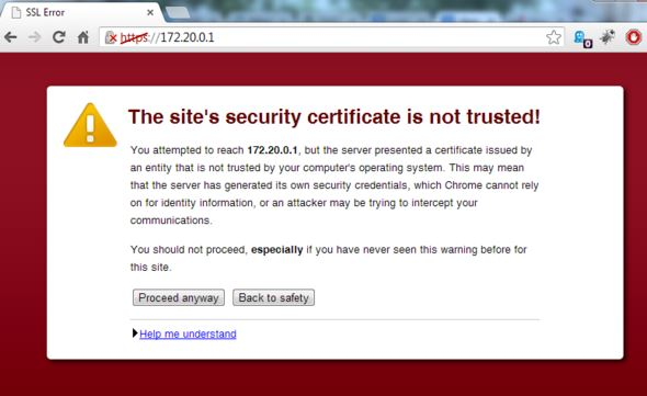 Notice in Chrome that a self-signed certificate is used on the site