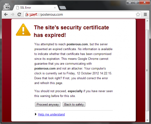 Why cannot ignore security alerts associated with SSL